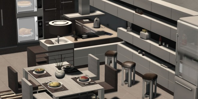 Kitchen with bar and dining room Bella – 160 animations