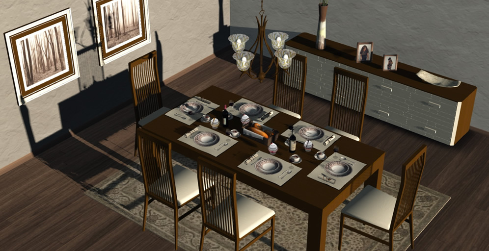 Dining Room Marlow 140 Animations Mesh
